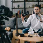 Tech influencer video blogging